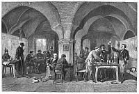 0089807 © Granger - Historical Picture ArchiveAUERBACH'S CELLAR, 1875.   The tavern in Leipzig, Germany, where part of the action in Goethe's Faust takes place. Wood engraving, English, 1875.
