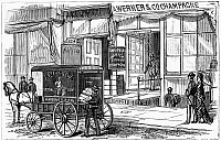 0268382 © Granger - Historical Picture ArchiveNEW YORK: WINE INDUSTRY.   Entrance to Werner and Company's wine store on Broadway in New York City. Engraving, American, 1878.