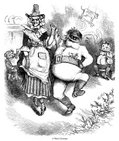 0000144 © Granger - Historical Picture ArchiveTHOMAS NAST: CHRISTMAS.   'A Merry Christmas.' Mother Goose and Santa Claus dancing along with the characters from the nursery rhyme 'Hey Diddle Diddle.' Wood engraving after a drawing by Thomas Nast, 1880.