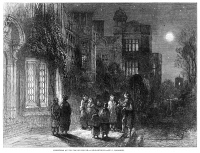 0003757 © Granger - Historical Picture ArchiveCHRISTMAS CAROLERS, 1859.   Singing Christmas carols outside an English manor house. Wood engraving, 1859.