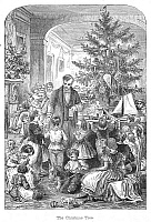0006978 © Granger - Historical Picture ArchiveCHRISTMAS, c1870.   Passing out Christmas presents around the tree. American engraving, c1870.