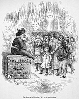 0035019 © Granger - Historical Picture ArchiveTHOMAS NAST: CHRISTMAS.   'The Shrine of St. Nicholas - We are all good children.' Wood engraving after a drawing by Thomas Nast, 19th century.