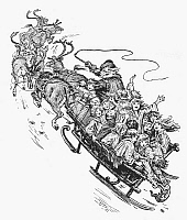 0035781 © Granger - Historical Picture ArchiveSANTA CLAUS & SLEIGH.   Santa Claus with a sleigh full of children. Wood engraving, American, c1896.
