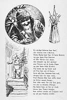 0037914 © Granger - Historical Picture ArchivePETERS JUL, c1870.   Father Christmas arriving with the Christmas tree at Peter's house. Engraved illustrations from 'Peters Jul' (Peter's Christmas), a Danish children's story published at Copenhagen, c1870.