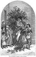 0037921 © Granger - Historical Picture ArchiveCHRISTMAS MISTLETOE, 1854.   'The mistletoe seller.' Wood engraving, English, 1854, after a drawing by Myles Birket Foster.