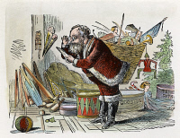 0041100 © Granger - Historical Picture ArchiveSANTA CLAUS.   Santa Claus checking his list. Wood engraving.