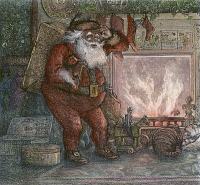 0049970 © Granger - Historical Picture ArchiveTHOMAS NAST: SANTA CLAUS.   'Here We Are Again!' Detail of Santa Claus. Engraving by Thomas Nast, 1878.