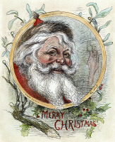0061946 © Granger - Historical Picture ArchiveTHOMAS NAST: SANTA CLAUS.   'Merry Christmas.' Color, wood engraving after Thomas Nast.