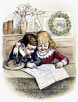 0090227 © Granger - Historical Picture ArchiveTHOMAS NAST: CHRISTMAS.   Children tracing Santa Claus' route from the North Pole. Wood engraving, 19th century, after a drawing by Thomas Nast.
