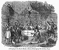 0095617 © Granger - Historical Picture ArchiveCHRISTMAS FEAST, 1838.   'Bringing in the Boar's Head.' English wood engraving, 1838.