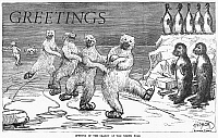 0095664 © Granger - Historical Picture ArchiveCHRISTMAS: POLAR BEARS.   'Opening of the season at the North Pole.' Illustration by Frederick Stuart Church, 1875.