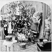 0131190 © Granger - Historical Picture ArchiveCHRISTMAS EVE, c1897.   A studio photograph of Santa Claus speaking on a telephone in a room decorated for Christmas. Stereograph, c1897.