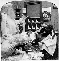 0131193 © Granger - Historical Picture ArchiveCHRISTMAS DREAM, c1897.   A spectral Santa Claus stands over sleeping child while the mother sleeps at nearby table. Double exposed stereograph, c1897.