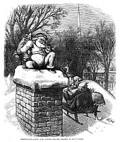 0265668 © Granger - Historical Picture ArchiveTHOMAS NAST: SANTA CLAUS.   'Christmas Eve - Santa Claus Waiting for the Children to Get to Sleep.' Engraving by Thomas Nast, 1874.