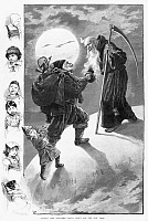 0266017 © Granger - Historical Picture ArchiveCHRISTMAS AND NEW YEAR'S.   'Father Time Welcomes Santa Claus and the New Year.' Engraving, American, 1888.