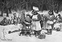 0266788 © Granger - Historical Picture ArchiveANIMALS COOKING, 1887.   'Great Expectations.' Forest animals awaiting a Christmas feast. Engraving by Frederick S. Church, 1887.