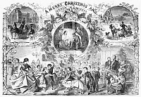 0267554 © Granger - Historical Picture ArchiveCHRISTMAS, 1859.   Scenes of Christmas and New Years celebrations in New York City. Wood engraving, American, 1859.