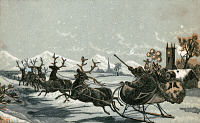 0621462 © Granger - Historical Picture ArchiveCHRISTMAS CARD, c1885.   American trade card with Santa and his sleigh. Color wood engraving, c1885.