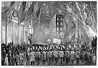 0058297 © Granger - Historical Picture ArchiveFOURTH OF JULY, 1876.   Celebrating the Centennial Fourth of July in Madison Square, New York City, in 1876. Wood engraving from a contemporary American newspaper.