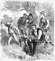 0058299 © Granger - Historical Picture ArchiveFOURTH OF JULY, 1869.   'Fourth of July at the country home.' Wood engraving, 1869.