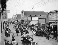 0121714 © Granger - Historical Picture ArchiveALASKA: 4TH OF JULY, 1916.   Fourth of July parade on Front Street in Nome, Alaska, 1916.