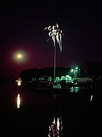 0162871 © Granger - Historical Picture ArchiveMISSISSIPPI RIVER: FIREWORKS.   Fourth of July fireworks display over the Mississppi River at Hannibal, Missouri. Photographed c1974.