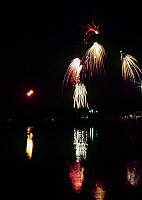 0162872 © Granger - Historical Picture ArchiveMISSISSIPPI RIVER: FIREWORKS.   Fourth of July fireworks display over the Mississppi River at Hannibal, Missouri. Photographed c1974.
