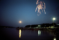 0163210 © Granger - Historical Picture ArchiveMISSISSIPPI RIVER: FIREWORKS.   Fourth of July fireworks display over the Mississppi River at Hannibal, Missouri. Photographed c1974.