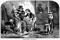 0095763 © Granger - Historical Picture ArchiveGUY FAWKES' DAY, 1853.   'Building the Guy.' Building the effigy to be burned on Guy Fawkes' Day, 5 November 1853. Wood engraving from an English newspaper.