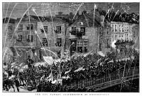 0370282 © Granger - Historical Picture ArchiveGUY FAWKES DAY, 1883.   Guy Fawkes Night at Bridgewater, England, 5 November 1883. Contemporary English engraving.