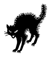 0062327 © Granger - Historical Picture ArchiveHALLOWEEN: BLACK CAT.   The black cat, a traditional Halloween symbol. Decorative cut.
