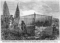 0265301 © Granger - Historical Picture ArchiveMEMORIAL DAY, 1868.   Mourners decorating the grave of General Frederick W. Lander in Salem, Massachusetts, during the first nationwide observance of Memorial (Decoration) Day, 30 May 1868. Contemporary American wood engraving after a drawing by J. Warren Thyng.