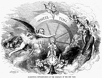 0044905 © Granger - Historical Picture ArchiveNEW YEAR, 1854.   'Wheel of Time.' An allegorical representation of the coming-in of the New Year, 1854. Wood engraving, American, 1854.