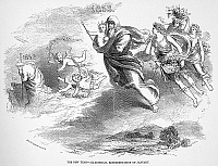 0044906 © Granger - Historical Picture ArchiveNEW YEAR, 1853.   An allegorical representation of January. Wood engraving, American, 1852.