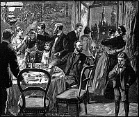 0095776 © Granger - Historical Picture ArchiveNEW YEAR'S EVE, 1890.   'Ringing out the New Year.' Line engraving by Fritz Bergen, 1890.