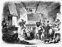 0015762 © Granger - Historical Picture ArchiveTHANKSGIVING, 1855.   'Preparing for Thanksgiving.' Wood engraving, American, 1855.