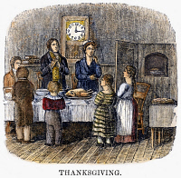 0087911 © Granger - Historical Picture ArchiveTHANKSGIVING, 1853.   Wood engraving, American, 1853.