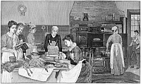 0267371 © Granger - Historical Picture ArchiveTHANKSGIVING, 1890.   'The Day Before Thanksgiving.' Women preparing Thanksgiving dinner. Engraving, American, 1890.