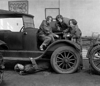 0164137 © Granger - Historical Picture ArchiveHIGH SCHOOL MECHANICS, 1927.   A group of high school girls learning automobile mechanics at Central High School in Washington, D.C., 1927.