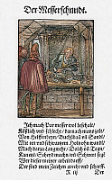 0104339 © Granger - Historical Picture ArchiveAMMAN: CUTLER, 1568.   The Cutler makes knives with handles of ivory, boxwood, sandalwood and other woods. He also makes spears, daggers, swords, scabbards, etches and cleans swords. Woodcut, 1568, by Jost Amman.