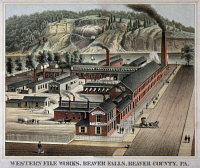 0022068 © Granger - Historical Picture ArchiveWESTERN FILE WORKS, c1875.   Beaver Falls, Pennsylvania. Lithograph.