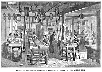 0029399 © Granger - Historical Picture ArchivePIANO MANUFACTURING, 1878.   View in the action room of the Chickering Pianoforte Manufactory, New York City. Line engraving, 1878.