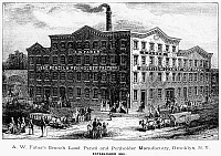 0051420 © Granger - Historical Picture ArchiveLEAD PENCIL FACTORY.   A.W. Faber's Lead Pencil and Penholder Manufactory, Brooklyn, New York. American line engraving, 1876.