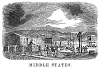 0078048 © Granger - Historical Picture ArchiveFACTORY, 19th CENTURY.   A factory of the Mid-Atlantic United States. Wood engraving, American, 1853.