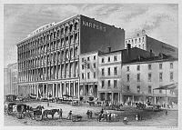 0093547 © Granger - Historical Picture ArchiveNEW YORK: HARPER BROS.   Harper & Brothers book and magazine publishers at Pearl Street and Franklin Square, New York. Lithograph, mid-19th century.
