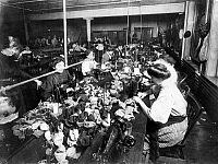 0118015 © Granger - Historical Picture ArchiveTEDDY BEAR FACTORY, c1915.   Women at work making teddy bears in an American factory. Photograph, c1915.