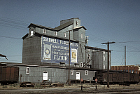 0122269 © Granger - Historical Picture ArchiveIDAHO: FLOUR MILL, 1941.   Exterior of Caldwell Flour mills in Caldwell, Idaho. Photograph by Russell Lee, July 1941.