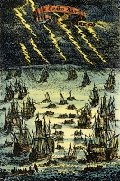 0042418 © Granger - Historical Picture ArchiveFISHING FLEET, 1683.   Late 17th century fishing fleet on the Grand Banks off the coast of Newfoundland, Canada. Copper engraving, French, 1683.