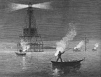 0093687 © Granger - Historical Picture ArchiveFLORIDA: NIGHT FISHING.   Spear-fishing by firelight at Fowey Rocks Lighthouse, Biscayne Bay, Florida. Line engraving, 1886.