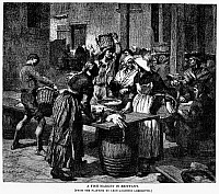 0093726 © Granger - Historical Picture ArchiveFRANCE: FISH MARKET, 1879.   A fish market in Brittany, France. Wood engraving, 1879.